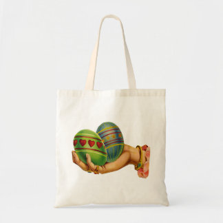 Retro Vintage Kitsch Magic Eggs Easter Card Art Tote Bag
