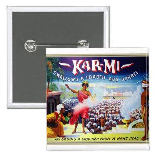 Retro Vintage Kitsch Magic Kar-Mi Swallows a Gun Pinback Button