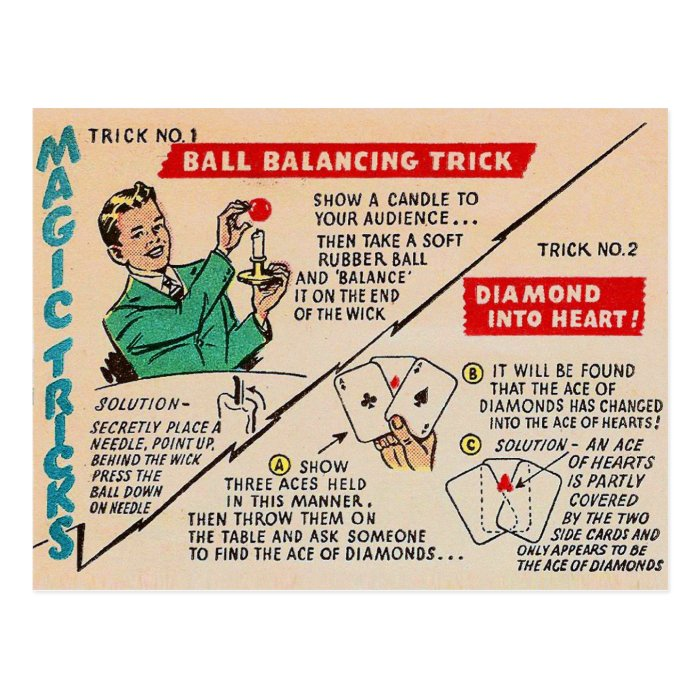 Retro Vintage Kitsch Magic 'Magic Tricks Ad' Postcard