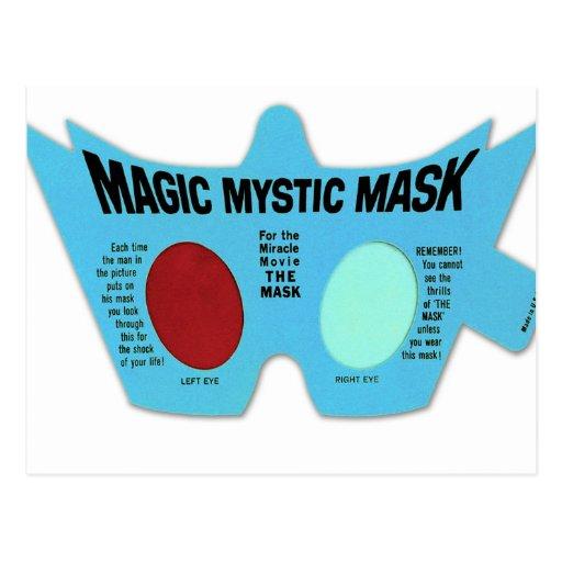 Retro Vintage Kitsch Magic Mystic Mask 3D Glasses Postcard