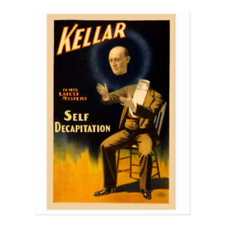 Retro Vintage Kitsch Magic Self Decapitation Postcard