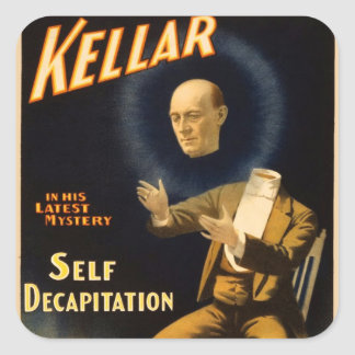 Retro Vintage Kitsch Magic Self Decapitation Square Sticker