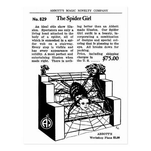 Retro Vintage Kitsch Magic Trick The Spider Girl Post Card