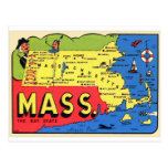 Retro Vintage Kitsch Mass. Massachusetts Decal Postcard