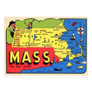Retro Vintage Kitsch Mass. Massachusetts Decal Postcard