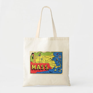 Retro Vintage Kitsch Mass. Massachusetts Decal Tote Bag