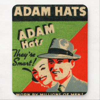 Retro Vintage Kitsch Matchbook Art Adam Hats Ad Mouse Pad