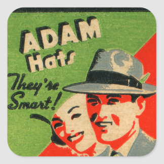 Retro Vintage Kitsch Matchbook Art Adam Hats Ad Square Sticker