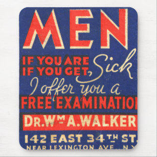 Retro Vintage Kitsch Matchbook Art Men Free Exam! Mouse Pad