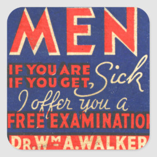 Retro Vintage Kitsch Matchbook Art Men Free Exam! Square Sticker