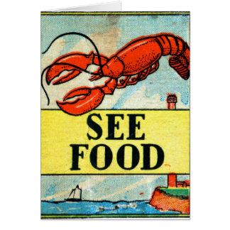 Retro Vintage Kitsch Matchbook Art See Food Card