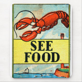 Retro Vintage Kitsch Matchbook Art See Food Mouse Pad