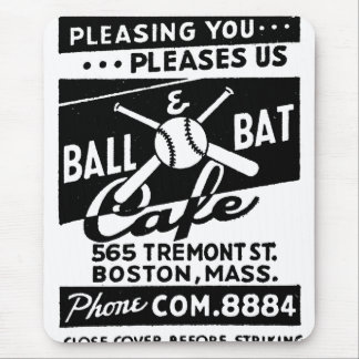 Retro Vintage Kitsch Matchbook Ball & Bat Cafe Mouse Pad
