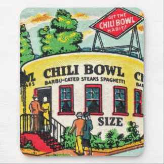 Retro Vintage Kitsch Matchbook Chili Bowl Cafe Mouse Pad