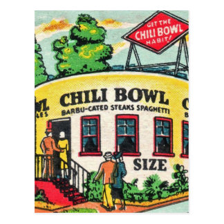 Retro Vintage Kitsch Matchbook Chili Bowl Cafe Postcard