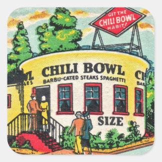 Retro Vintage Kitsch Matchbook Chili Bowl Cafe Square Sticker