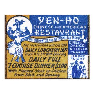 Retro Vintage Kitsch Matchbook Chinese Restaurant Postcard