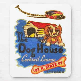 Retro Vintage Kitsch Matchbook Dog House Cocktails Mouse Pad