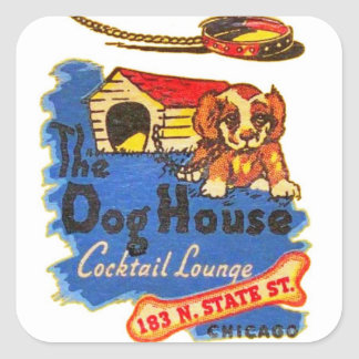 Retro Vintage Kitsch Matchbook Dog House Cocktails Square Sticker