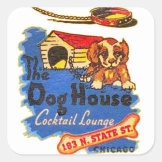 Retro Vintage Kitsch Matchbook Dog House Cocktails Square Sticker