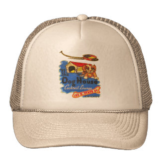 Retro Vintage Kitsch Matchbook Dog House Cocktails Trucker Hat