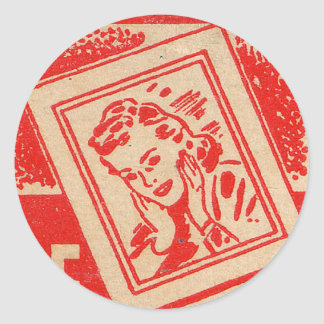Retro Vintage Kitsch Matchbook FREE ENLARGMENTS! Classic Round Sticker