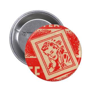 Retro Vintage Kitsch Matchbook FREE ENLARGMENTS! Pinback Button