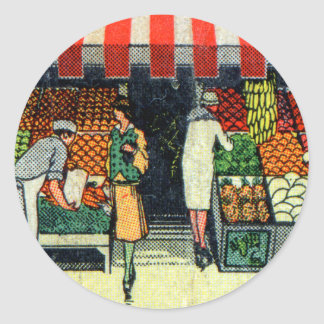 Retro Vintage Kitsch Matchbook Fruits & Vegetables Classic Round Sticker