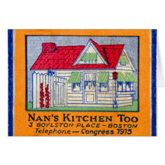 Retro Vintage Kitsch Matchbook Nan's Kitchen Diner Greeting Card