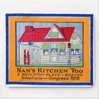 Retro Vintage Kitsch Matchbook Nan's Kitchen Diner Mouse Pad