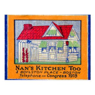 Retro Vintage Kitsch Matchbook Nan's Kitchen Diner Postcard