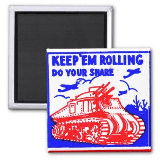 Retro Vintage Kitsch Matchbook Victory Bonds Tank 2 Inch Square Magnet