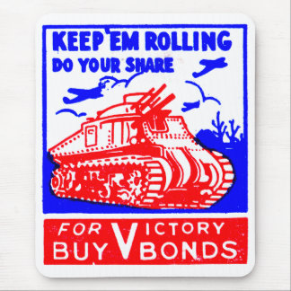 Retro Vintage Kitsch Matchbook Victory Bonds Tank Mouse Pad
