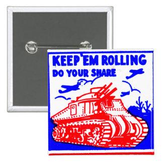 Retro Vintage Kitsch Matchbook Victory Bonds Tank Pinback Button