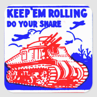 Retro Vintage Kitsch Matchbook Victory Bonds Tank Square Sticker