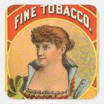 Retro Vintage Kitsch McRae Fine Tobacco Girl Square Sticker