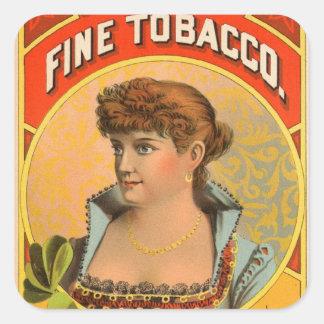 Retro Vintage Kitsch McRae Fine Tobacco Girl Square Stickers