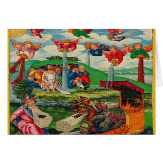Retro Vintage Kitsch Medieval Plague Rats & Angels Card