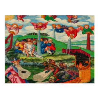 Retro Vintage Kitsch Medieval Plague Rats & Angels Postcard
