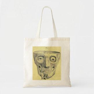 Retro Vintage Kitsch Medieval Skull Illustration Budget Tote Bag