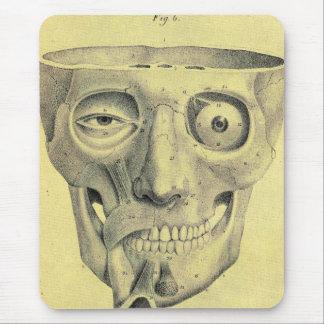 Retro Vintage Kitsch Medieval Skull Illustration Mouse Pad