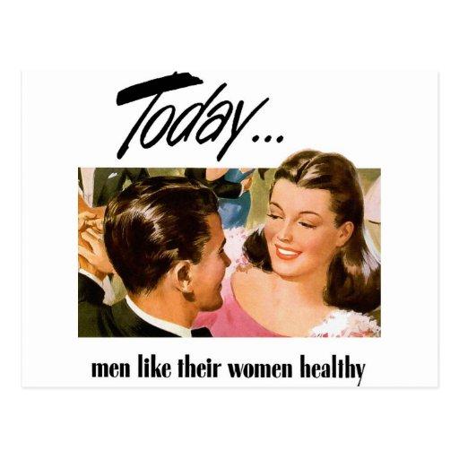 Retro Vintage Kitsch Men Like Their Women Heathly Postcard
