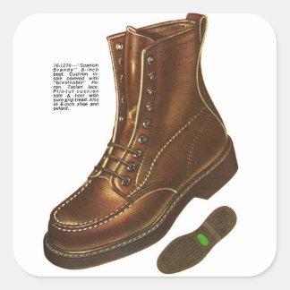 Retro Vintage Kitsch Mens Das Boot Ad Illustration Square Sticker