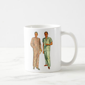 Retro Vintage Kitsch Men's Pajamas Classic White Coffee Mug