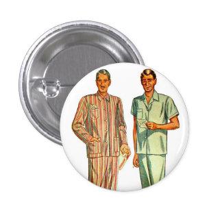 Retro Vintage Kitsch Men's Pajamas Pinback Button