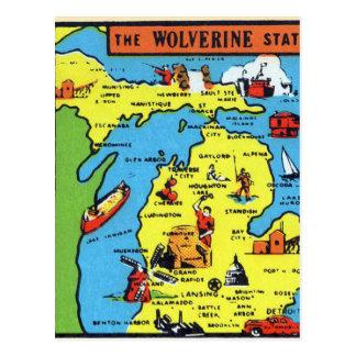 Retro Vintage Kitsch Michigan Wolverine Decal Postcard