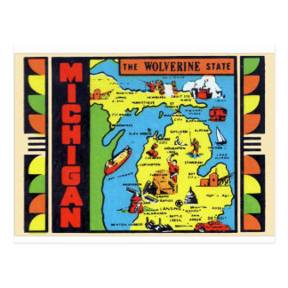 Retro Vintage Kitsch Michigan Wolverine Decal Postcard