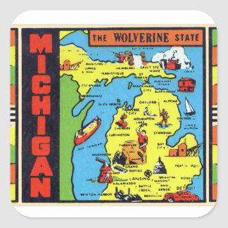Retro Vintage Kitsch Michigan Wolverine Decal Square Sticker