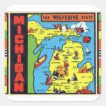 Retro Vintage Kitsch Michigan Wolverine Decal Square Stickers