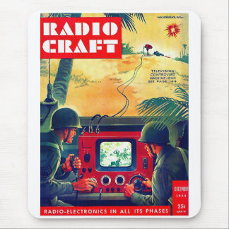 Retro Vintage Kitsch Military Radio Craft TV War Mouse Pad